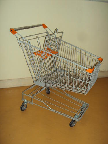 Shopping Trolley Four-Wheel Stainless Steel Super Market Trolley, Loading Capacity: 50-100 kg, For Shopping In Supermarkets
