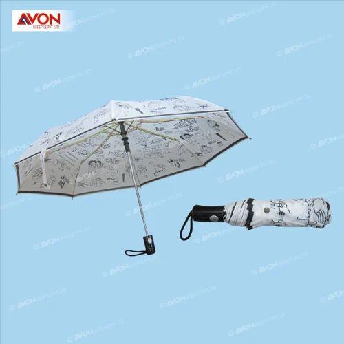 578536c6e Cheeky Chunk White 3 Fold Automatic Open Umbrella, Size: 22inch, Rs ...