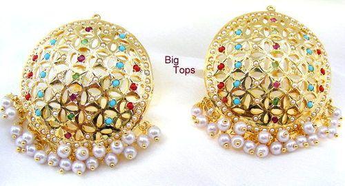 traditional judau earrings flower judau designer ruby earring