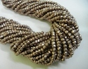 Rose Gold Nat. Pyrite Gemstone Facets Rondelle 3-4mm Bead Strand