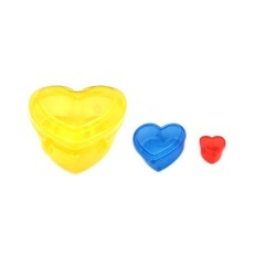 REJOICE Multicolor Heart Shaped Plastic Packaging Container Household & Masala Packing, For Cosmetic