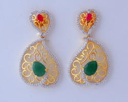 Cubic Zirconia Color Stone Earrings