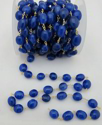 Oval Dyed Sapphire Rosary Bead Chain,Wire Wrapped Sapphire