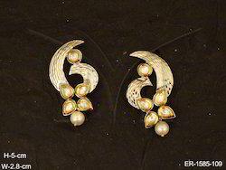 Spiral Leaf Flower Bridal Polki Earrings