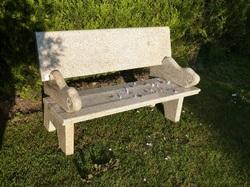 Granite Bench With Back Rest With Unique Handles