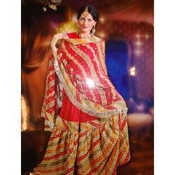 Unstitched Georgette Designer Bridal Gharara with Heavy Embroidery