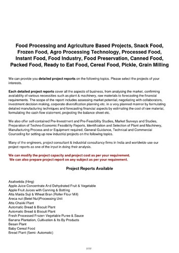Food Industry Project Report, Industrial Project Reports In Nilhat