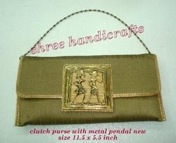 Clutch Purse with Metal Pendal New