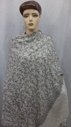 Natural White Pashmina Hand Embroidered All Over Shawls