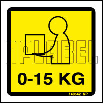 140542 0-15 KG. Shipping Weight Instruction Label