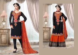 Orange Resham Embroidered Salwar Kameez