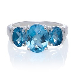Sky Blue Topaz Gemstone Silver Ring