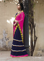 Navy Blue With Pink Color Saree