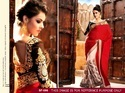 Red With White Colour Party Wear Fancy Saree