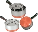 Silver Stainless Steel Sauce Pan With Copper Bottom, Packaging Type: Box