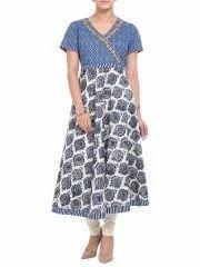 33230b3a0 Anarkali - White/Blue 100% Cotton Anarkali Suit Set Ecommerce Shop ...