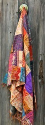 Silk 1.8 - 2.1 m Indian Vintage Hand Crafted Patchwork Stole