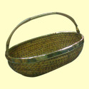 Oval Fruit Cane Basket With Handle