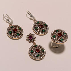 Green Pink Turkish Ring Pendant Set