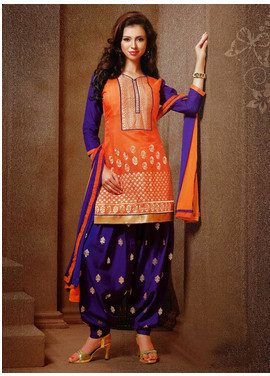Orange And Violet Chanderi Silk Punjabi Salwar Suit - 72 Lane ...