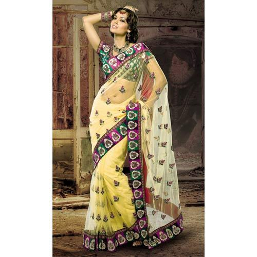 Net Designer Plain Saree