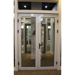 White Aluminium Powder Coated Aluminum Door, For Commercial, Single