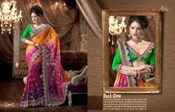 Silk Printed Fancy Border Work Saree, Dry clean