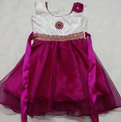 Party Wear Baby Frock - Pink White ( 2 - 3 Years )