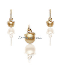 Golden Pearl Pendant Set with CZ