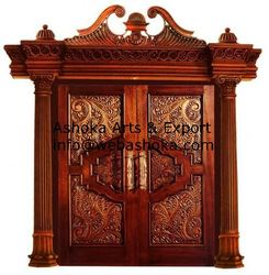 Designer Wood Doors teakwood hand carved special doors spl hand carved temple door vu 917 exporter from chennai Designer Wooden Door