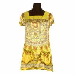 Girls Fashionable Satin Silk Tunic Top