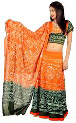Green and Orange Bandhej Lehenga Choli