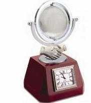 Wooden Base with Hand Fold / Clock Crystal Globe-Corp