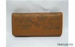 Tan Laser Design Ladies Leather Wallets