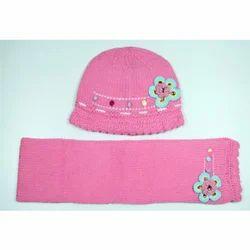 Kids Pink Woolen Skull Cap
