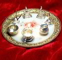 Marble Thali With Silver Utensils