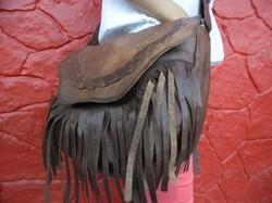 Vintage Leather Fringe Messenger Bag