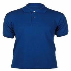 Blue Male Plain Collar T Shirts