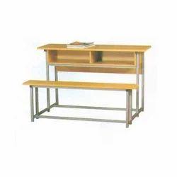 Double Wooden School Desk