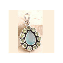 Rustic Blue Chalcedony Pendent