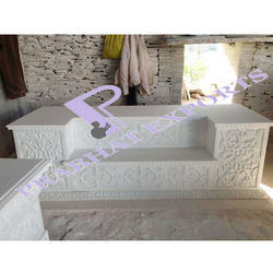 Indoor White Marble Singhasan, For Home