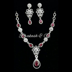 American Diamond Necklace Set with Red Stone
