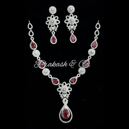 7edc4c0767c Prakash American Diamond Necklace Set With Red Stone