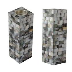 Luxury Marble T Light Holder with Mother of Pearl Inlayed