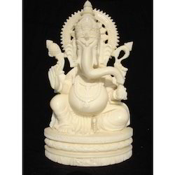 Statue White Resin Ganesh
