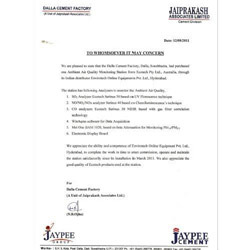 Jaiprakash Associates Limited Certificate