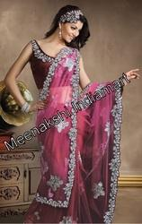 Embellished Mauve Net Saree