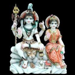 3 Feet Marble Shiv Parvati Statue