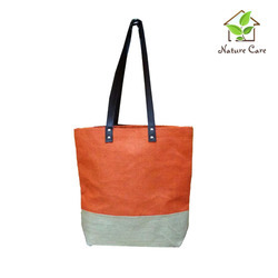 Jute Tote with Leather Handles