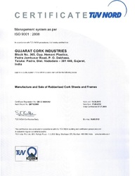 ISO Certificate of Gujarat Cork Industries
